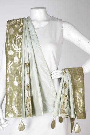 tussar silk pure olive green mint sea green blush dupatta